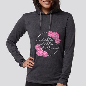delta delta delta floral Womens Hooded Shirt