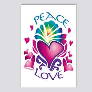 Peace and Love Heart 1 Postcards (Package of 8)
