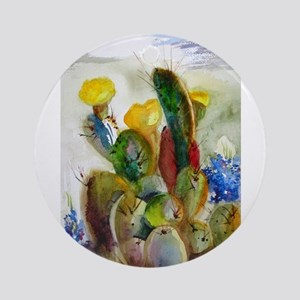 Bluebonnets and Cacti Ornament (Round)