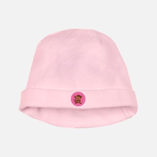 Monkey Girl - Pink baby hat