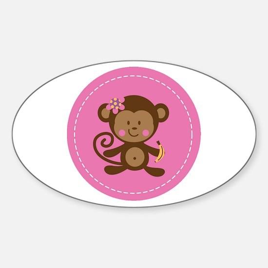 Monkey Girl - Pink Sticker (Oval)