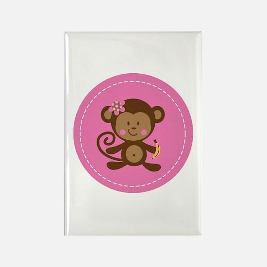 Monkey Girl - Pink Rectangle Magnet