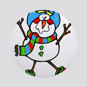 Cowboy Snowman Ornament (Round)