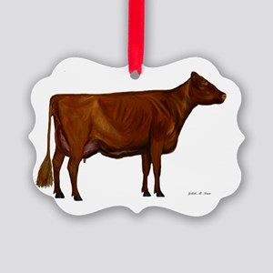 Shorthorn dairy cow Picture Ornament