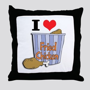 I Heart (Love) Fried Chicken Throw Pillow
