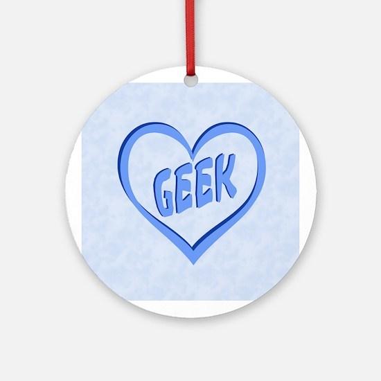 Geek Love (Blue Heart) Ornament (Round)
