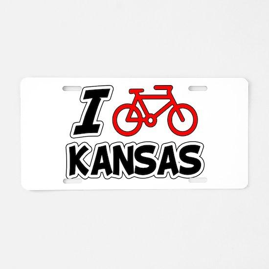 I Love Cycling Kansas Aluminum License Plate
