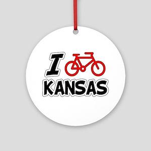 I Love Cycling Kansas Ornament (Round)