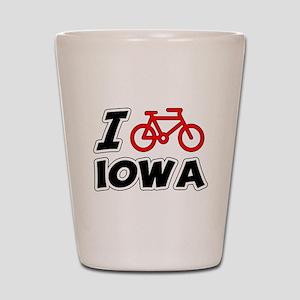 I Love Cycling Iowa Shot Glass