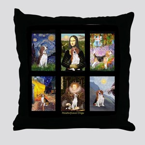 FamousArtBeagle Comp Throw Pillow