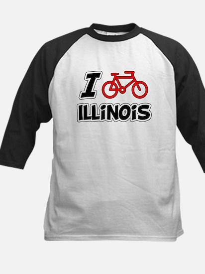 I Love Cycling Illinois Kids Baseball Jersey