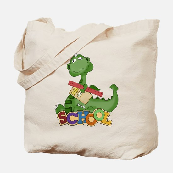 Cute Green School Dragon Tote Bag