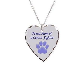 Proud Mom of a Cancer Fighter Necklace Heart Charm