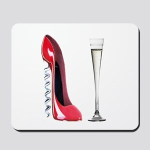 Corkscrew Red Stiletto and Champagne Art Mousepad