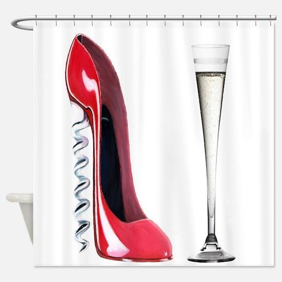 Corkscrew Red Stiletto and Champagne Art Shower Cu