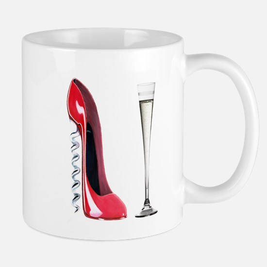 Corkscrew Red Stiletto and Champagne Art Mug