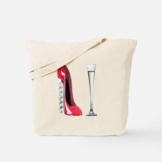 Corkscrew Red Stiletto and Champagne Art Tote Bag