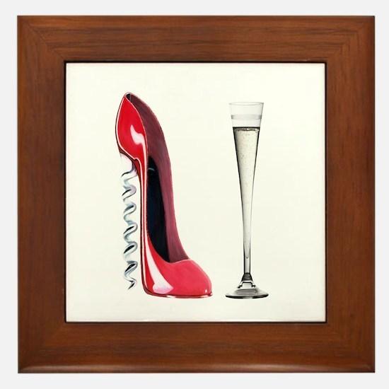 Corkscrew Red Stiletto and Champagne Art Framed Ti