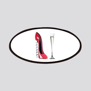 Corkscrew Red Stiletto and Champagne Art Patches