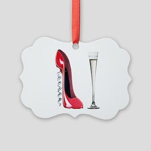 Corkscrew Red Stiletto and Champagne Art Picture O