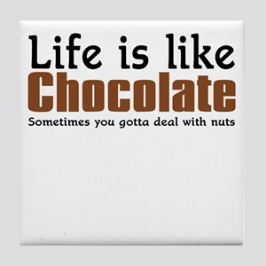 Life is like chocolate Tile Coaster
