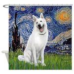 Starry-White German Shepherd Shower Curtain