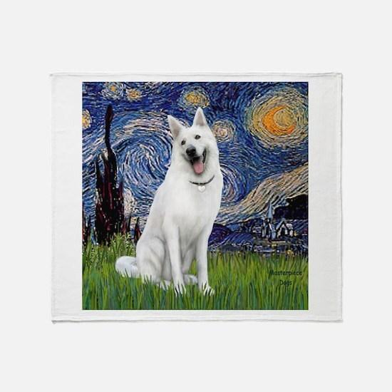 Starry-White German Shepherd Throw Blanket