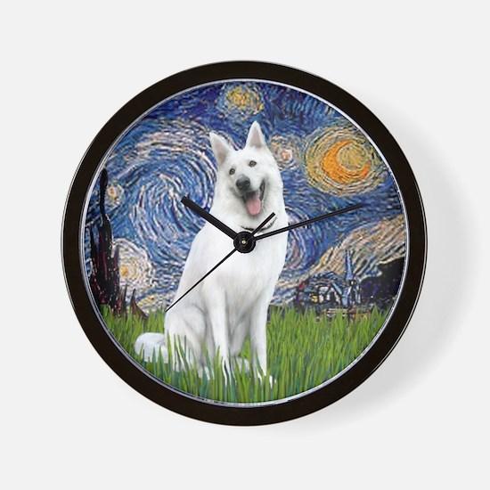Starry-White German Shepherd Wall Clock