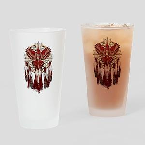 Native Cardinal Mandala Drinking Glass