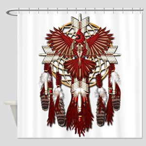 Native Cardinal Mandala Shower Curtain