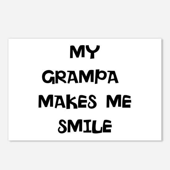 MY grampa makes me smile Postcards (Package of 8)