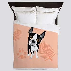Boston Pink Palms Queen Duvet