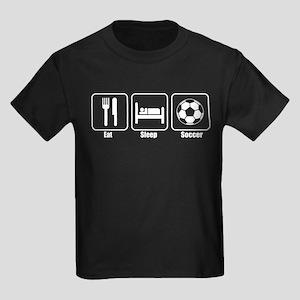 Eat Sleep Soccer Wht.png Kids Dark T-Shirt