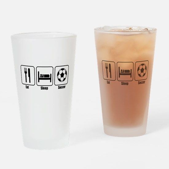 Eat Sleep Soccer BLK.png Drinking Glass