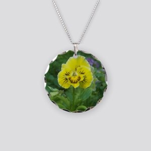 Yellow Pansy Flower Necklace Circle Charm