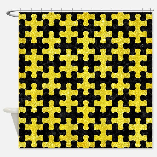 PUZZLE1 BLACK MARBLE & GOLD GLITTER Shower Curtain