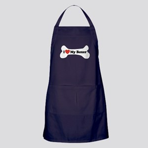 I Love My Boxer - Dog Bone Apron (dark)