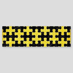 PUZZLE1 BLACK MARBLE & GOLD GLITT Sticker (Bumper)