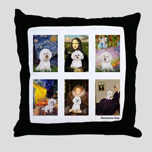 Famous Art Bichon (clr) Throw Pillow