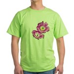 2 Pink Cactus Flowers Green T-Shirt