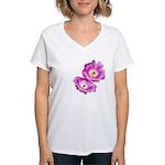 2 Pink Cactus Flowers Women's V-Neck T-Shirt