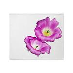 2 Pink Cactus Flowers Throw Blanket