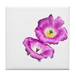 2 Pink Cactus Flowers Tile Coaster