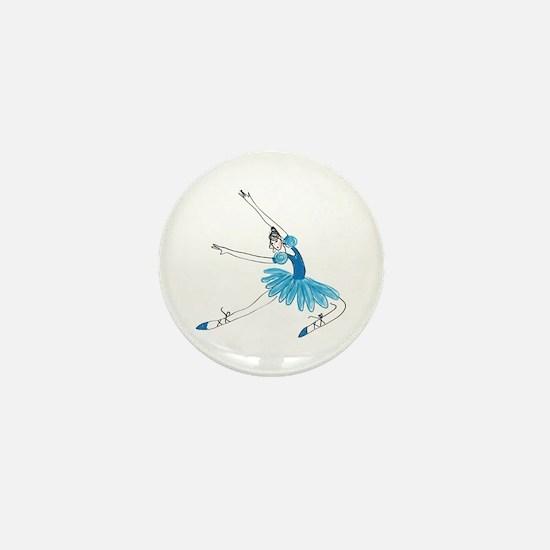 Blue Ballerina Mini Button