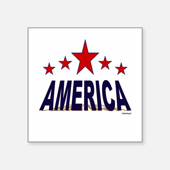 "America Square Sticker 3"" x 3"""