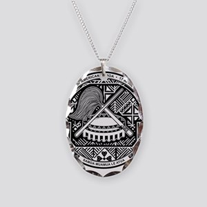 American Samoa Coat Of Arms Necklace Oval Charm