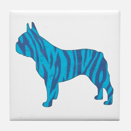 Blue Tiger Frenchie Tile Coaster