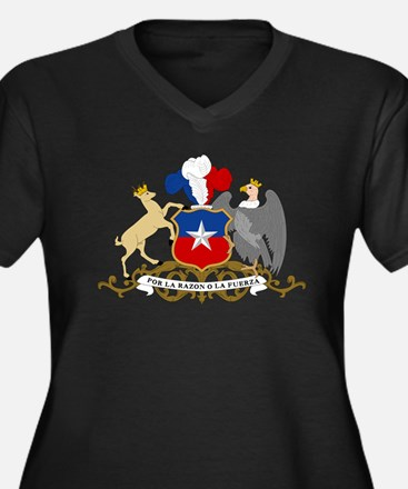 Chile Coat Of Arms Women's Plus Size V-Neck Dark T