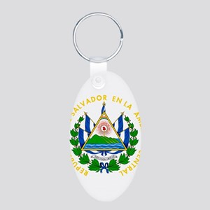 El Salvador Coat Of Arms Aluminum Oval Keychain