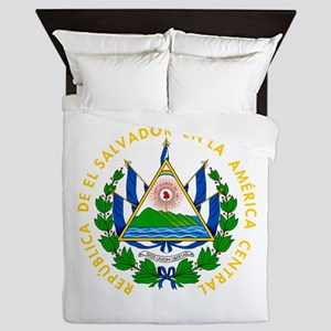 El Salvador Coat Of Arms Queen Duvet